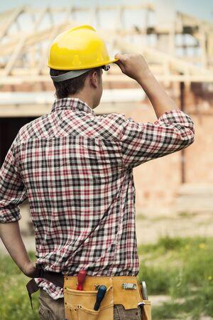box construction: Construction worker Stock Photo