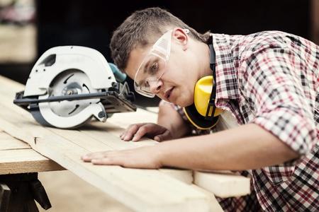falegname: Carpenter lavorando Archivio Fotografico