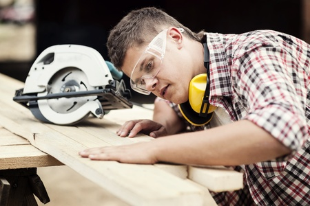 residential construction: Carpenter working