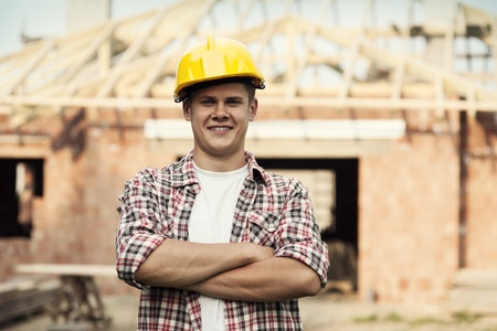 home addition: Portrait of construction worker