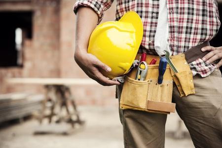 cinturon seguridad: Trabajador de la construcci�n