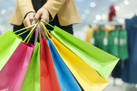 retail scene: Woman holding shopping bags
