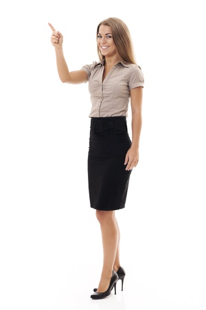 Confident businesswoman gesturing on white photo