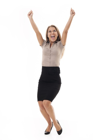 arms raised: Winner Stock Photo