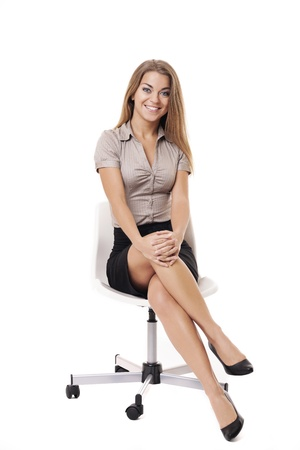 businesswoman skirt: Portrait of smiling businesswoman Stock Photo