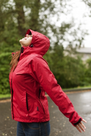 Woman in the rain photo