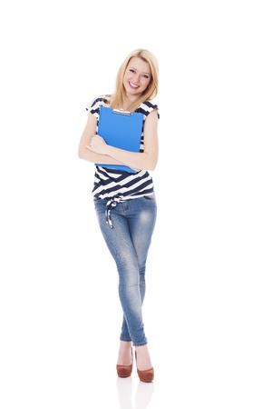 high school teacher: Smiling woman holding clipboard