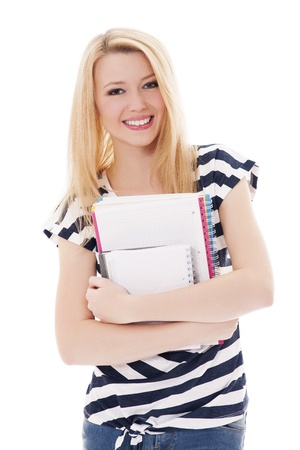 Student girl holding notebooks photo