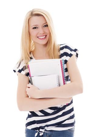 studio shots: Student girl holding notebooks Stock Photo