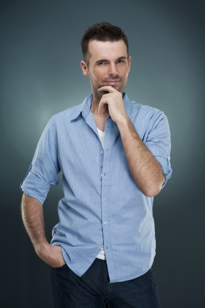 rolled up sleeves: Portrait of fashionable man Stock Photo