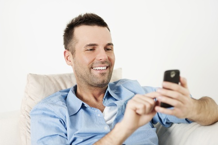 busy beard: Checking the latest news Stock Photo