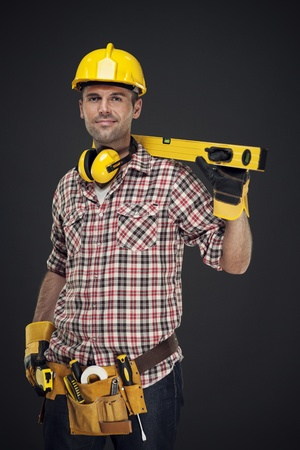 construction worker: Portrait of smiling construction worker Stock Photo