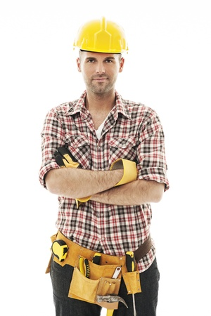 Portrait of handsome construction worker photo