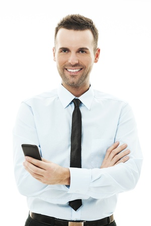 Businessman using smart phone photo