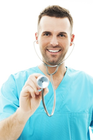 Doctor using a stethoscope Stock Photo - 18190882