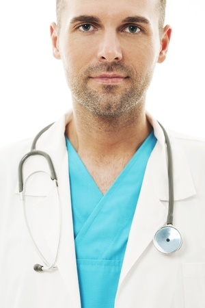 Close-up of a handsome and confident doctor photo