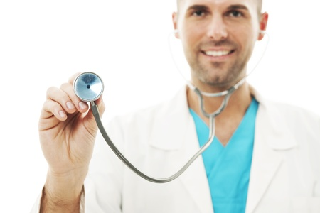 Smiling doctor listening heartbeat Stock Photo - 18190728