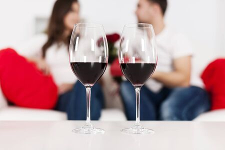 Red wine for valentine Stock Photo - 18190780