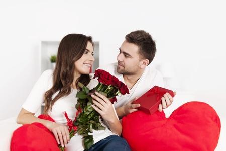 Smiling couple celebrating Valentine Stock Photo - 18190784