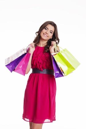 shopaholics: Smiling shopping woman Stock Photo