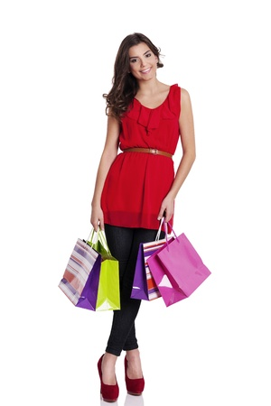 Portrait of a beautiful woman with shopping bags Stock Photo - 18282540