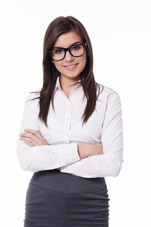 Beautiful young businesswoman with glasses Stock Photo - 18423951