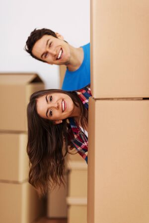 Couple having fun during  moving in new home Stock Photo - 18868143