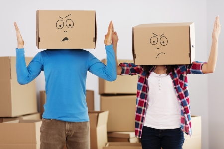 we: We hate unpacking  Stock Photo