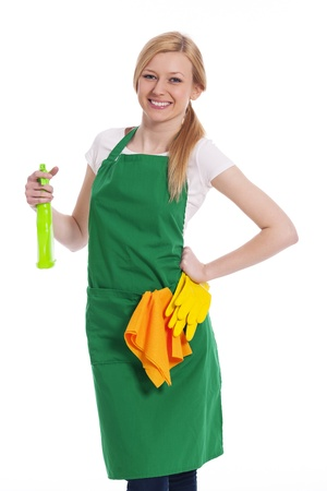 Cheerful cleaner with liquid and protective glove photo