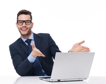 neckties: Mira a la computadora, Foto de archivo