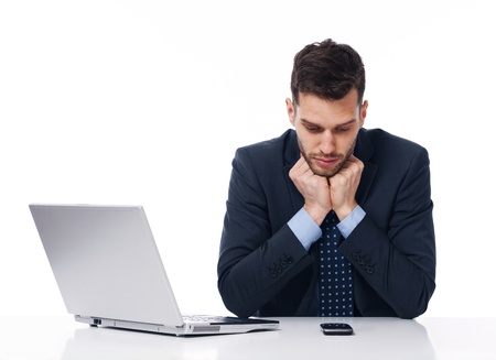 businessman waiting call: Businessman waiting for an important call Stock Photo