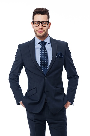 hand in pocket: Portrait of handsome businessman with glasses Stock Photo