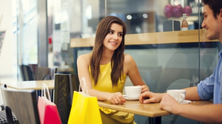 Time for a coffee after successful shopping Stock Photo - 19563248