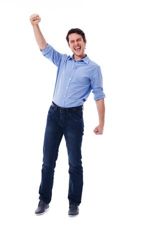 persona de pie: Hombre joven y una se�al de victoria Foto de archivo