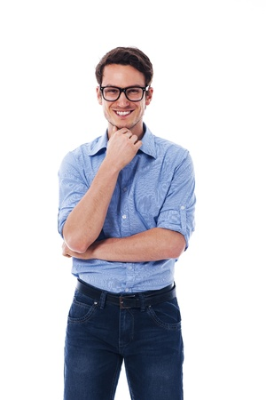rolled up sleeves: Portrait of smiling man wearing in glasses