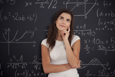 Female student thinking about mathematics problem photo