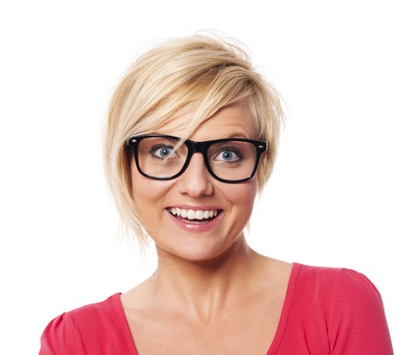Portrait of happy woman with short blond hair  photo