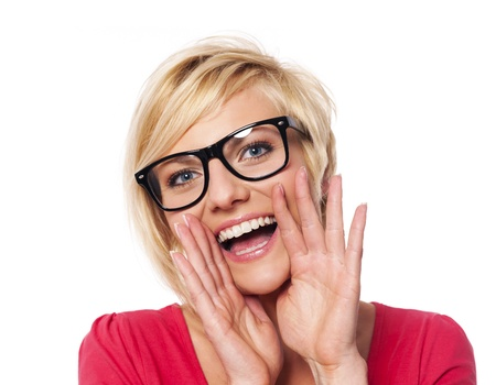 woman shouting: Fashionable woman shouting  Stock Photo