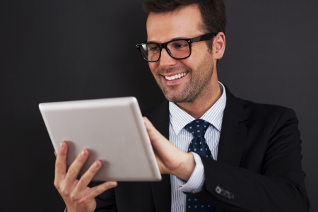 Businessman working on his touchpad Stock Photo - 20171330
