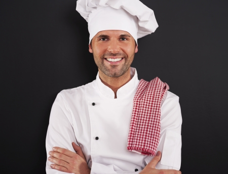 chefs whites: Portrait of handsome cooking chef