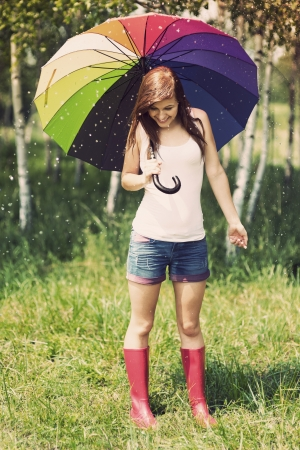 women in boots: Smiling woman in rainy summer day