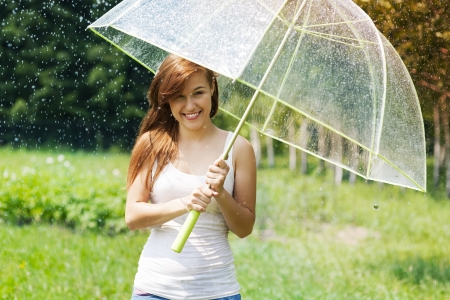 Woman with umbrella in the rain Stock Photo - 20458158