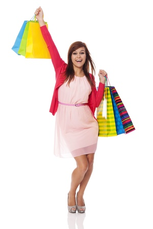Happy woman from successful shopping  photo