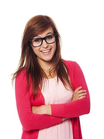 Portrait of smiling woman with fashion glasses  photo