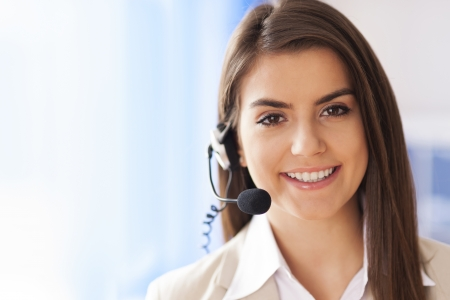 Portrait of female worker customer service Stock Photo