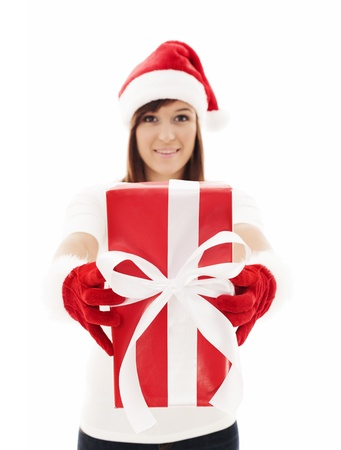 Woman holding christmas present  photo