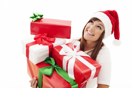 Happy woman with stack christmas gifts photo