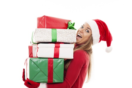 mrs  claus: Happy woman with christmas gifts  Stock Photo