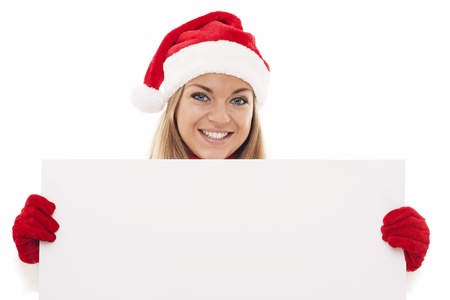 Christmas woman holding blank board photo