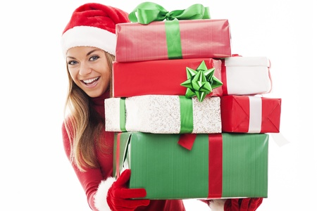 Woman with christmas presents photo